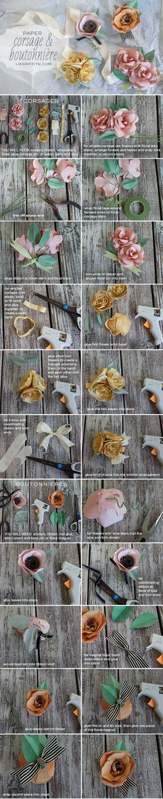 Paper Corsage and Boutonniere #diy #tutorial #wedding #paperflowers #flowers