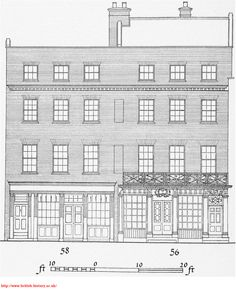 56 Artillery Lane, Spitalfields, one of London's oldest shop fronts, occupied in the 1750s by Nicholas Jourdain, Huguenot Silk Mercer and Director of the French Hospital. In 1827 no. 58 was modernised with a plain Regency front, only a few years before the weaving economy in Spitalfields collapsed and the area became impoverished. See also http://www.ravenrow.org/about/.