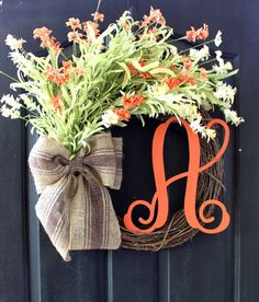 Burlap Wreath -  Wreaths - Mothers Day Gift - Grapevine Wreath - Summer Wreath for door - Summer Wreath - Home Decor -Gift idea