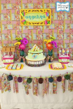 Fantastic 1970's inspired birthday dessert table! #1970s #desserttable #camping #birthday