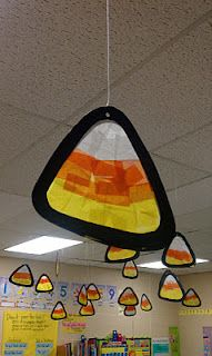 These candy corn decorations look great hanging from the ceiling.
