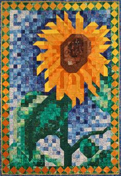 Art Quilt Pattern  Sunflower Mosaic Quilt Pattern by JaneLKakaley, $10.50