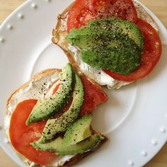 California Bagels - bagel, cream cheese, tomatoes, avocado, salt, lemon pepper  Love this recipe