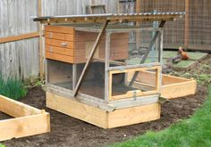 How to build a chicken coop that fits a raised garden bed.