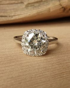 Round Moissanite with Cushion Halo Ring by kateszabone on Etsy, $2795.00