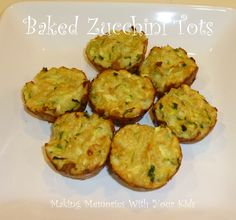 Baked Zucchini Tots  {no onions}
