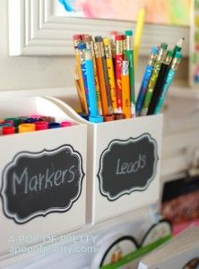Chalkboard labels are a helpful way to organize your messiest spaces #marthastewarthomeoffice