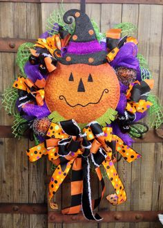 Jack O Lantern Mesh Wreath on Etsy, $99.00