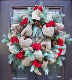 Christmas Burlap Wreath Christmas Wreath Burlap by LuxeWreaths