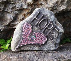 """""""Hope"""" Heart Mosaic Garden Stone by Chris Emmert, via Flickr"""