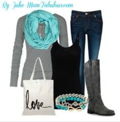 Super cute blue, grey and black outfit with lots of accessories