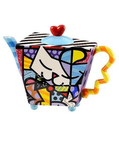 Romero Britto Dinnerware, Cat Teapot