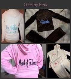 Bridal Party Tracksuit 2pcs hoodie and pants by GiftsbyEthix, $35.50