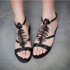 shoes unique design black fish bone flat