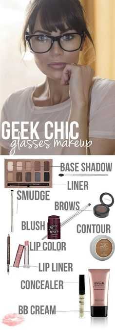 glasses and makeup, eye makeup, makeup glasses, bang, wear glass