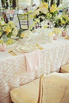 elegant pink and yellow reception, photo by Poppy La'Rue Photography & Design http://ruffledblog.com/notwedding-athens #weddingideas #tablescape