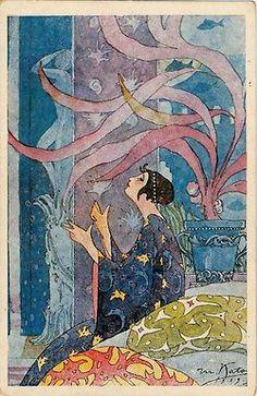 Japanese art deco postcard by Kato Masao, ca 1919.