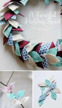 DIY fabric twist ties. Use them to make a holiday wreath or wrap presents. http://issuu.com/creaturecomforts/docs/gifted_magazine/9?mode=embed=magazine (instructions start on page 99) Template here http://www.creaturecomfortsblog.com/storage/gifted-magazine/Fabric%20Twist%20Tie%20Templates.pdf