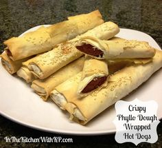 Crispy Fillo-Dough-Wrapped Hot Dogs with our #Organic Fillo Dough (http://www.fillofactory.com/fillo-dough/16-oz-organic-white-wheat.html). #kosher