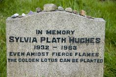Sylvia Plath's tombstone, Heptonstall, England.  Fans angry at Ted Hughes defaced the marker to remove his last name; you can see where it has been repaired.