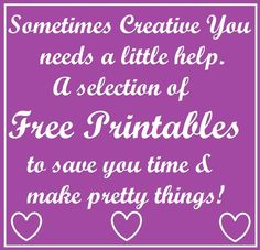 We all need a little help and time savers sometimes... I will keep adding more free  printables, so do stop by from time to time!