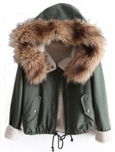 Sheinside Women's Fur Hooded Long Sleeve Drawstring Coat for only $32.99 You save: $19.63 (37%)