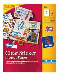 avery clear sticker paper