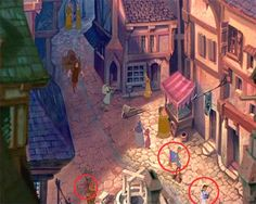 ❦ During a scene, there are three Disney characters that can be spotted. Aladdins magic carpet, Belle from Beauty and the Beast and Pumbaa from The Lion King