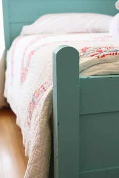 vintage quilt, painted bed, Craft House