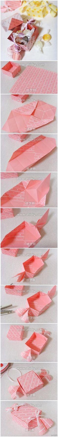 Caja en forma de caramelo