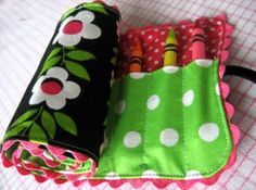 Crayon roll for your purse/diaper bag. Perfect for on the go fun