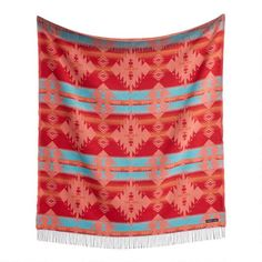 Sackcloth & Ashes Orange and Turquoise Diamond Throw Blanket - v1