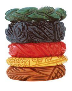 Bakelite bracelets...love all the pretty colors!