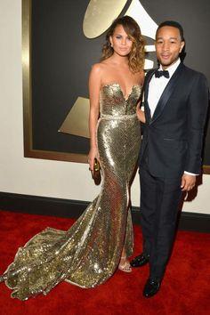 Chrissy Teigen and John Legend at the 2014 Grammys