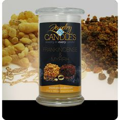 Frankincense & Myrrh are prized for their alluring fragrance...finest gift to give a King! Embodies the classic and enchanting aromatic blend of frankincense and myrrh, with bergamot, patchouli and sandalwood. Infused with natural essential oils including Bergamot, Coriander, Lemon, Orange, and Patchouli. Full size 21oz scented candle 100% all natural Soy candle Burns for 100 to 150 hours. Includes a surprise piece of jewelry in every candle.