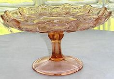 pink glass plates with grape design | Pin Pink Depression Glass Adam Pattern Cake Plate Cake on Pinterest