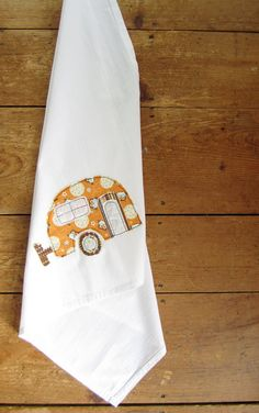 appliqued camper tea towel by Hang Tight Studio