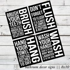 INSTANT DOWNLOAD - Brush, Flush, Hang, and Wash Bathroom Decor DIY Printable Signs via Etsy