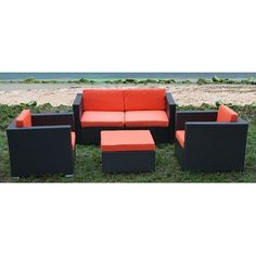 International Home Miami St. Tropez 5 Piece Deep Seating Group with Cushions $2599
