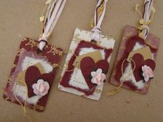Set of 3 Altered Formica Chip Tags