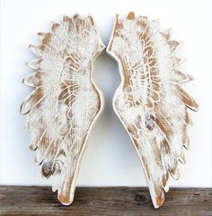 Large Wood Angel Wings Wooden Hand Carved, Hand Painted Reclaimed Wood Wings via Etsy