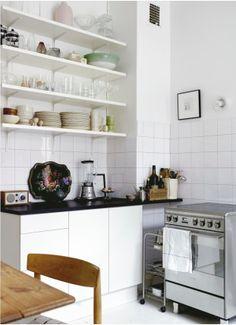 Kitchen. Open shelves.