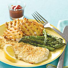Coat flounder fillets in a mixture of panko breadcrumbs and Parmesan cheese for a quick and easy  fish dinner. If flounder is not available, you can use any other mild white fish fillets.