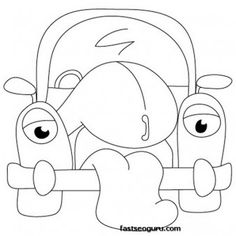 cartoon cars drawings coloring page - Printable Coloring Pages For Kids