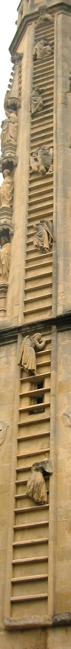The angels climb Jacob's Ladder on the west front of Bath Abbey.