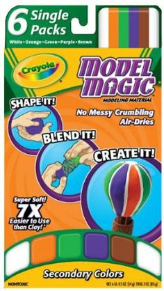 Crayola Model Magic Single Packs Secondary Colors by Crayola. $5.83. Allows kids to enjoy making fun finished art projects. Secondary colors. Variety of colors. No mess fun. Made in America. From the Manufacturer                Crayola Model Magic Single Packs Secondary Colors.  Allows kids to enjoy making fun finished art projects. No mess.                                    Product Description                Crayola Model Magic Variety Pack. The Model Magic V...