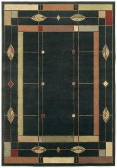 4x6 William Morris Arts & Crafts Mission Style Black Lodge Area Rug