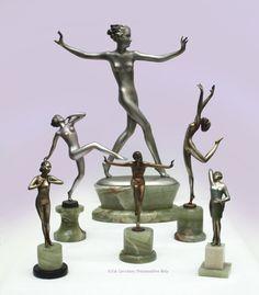 Art Deco bronzes by Lorenzl, Vienna 1930s.
