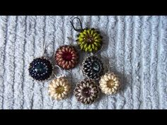 Beaded earring: earrings made using SuperDuo beads and Rivoli Swarovski crystals - YouTube