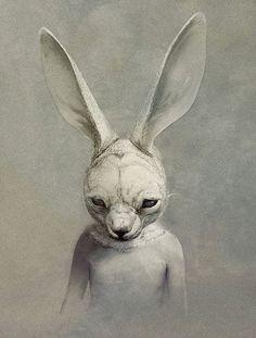 art illustrations, digital paintings, ryohei hase, rabbits, art drawings
